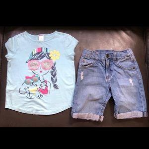 Girls Gymboree Size 5 Top Jean Shorts